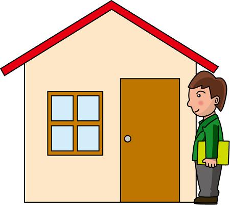 小学校の家庭訪問の画像